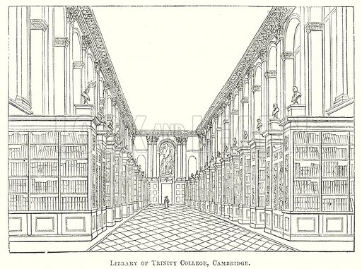 Library of Trinity College, Cambridge. Illustration for The Pictorial History of England (W & R Chambers, 1858).