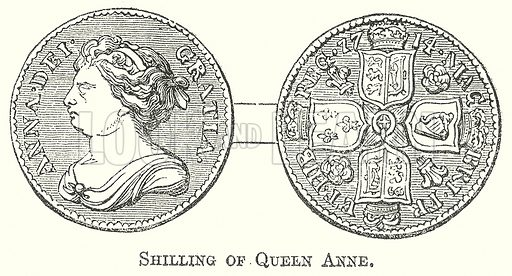 Shilling of Queen Anne. Illustration for The Pictorial History of England (W & R Chambers, 1858).