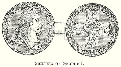 Shilling of George I. Illustration for The Pictorial History of England (W & R Chambers, 1858).