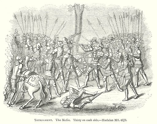 Tournament. The Melee. Illustration for The Pictorial History of England (W & R Chambers, 1858).