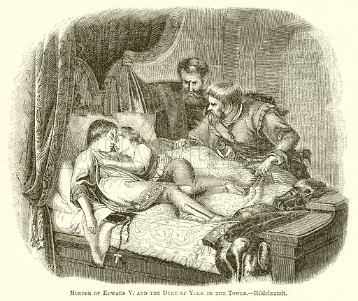 Murder of Edward V and the Duke of York in the Tower.--Hildebrandt. Illustration for The Pictorial History of England (W & R Chambers, 1858).