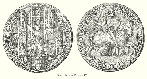 Great Seal of Edward IV. Illustration for The Pictorial History of England (W & R Chambers, 1858).