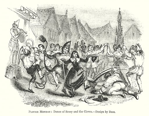 Plough Monday: Dance of Bessy and the Clown. Illustration for The Pictorial History of England (W & R Chambers, 1858).
