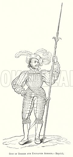Suit of Ribbed and Engraved Armour.--Meyrick. Illustration for The Pictorial History of England (W & R Chambers, 1858).