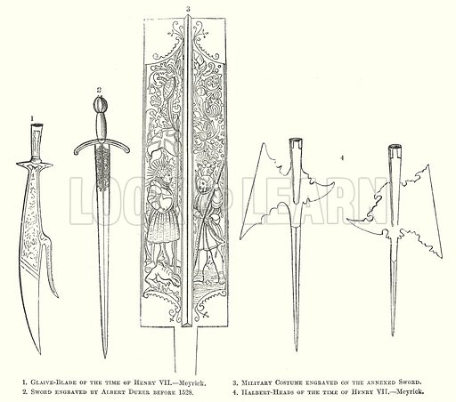 1. Glaive-Blade of the Time of Henry VII.--Meyrick. 2. Sword engraved by Albert Durer before 1528. 3. Military Costume engraved on the Annexed Sword. 4. Halbert-Heads of the Time of Henry VII.--Meyrick. Illustration for The Pictorial History of England (W & R Chambers, 1858).