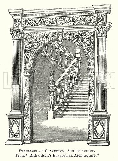 Staircase at Claverton, Somersetshire. Illustration for The Pictorial History of England (W & R Chambers, 1858).
