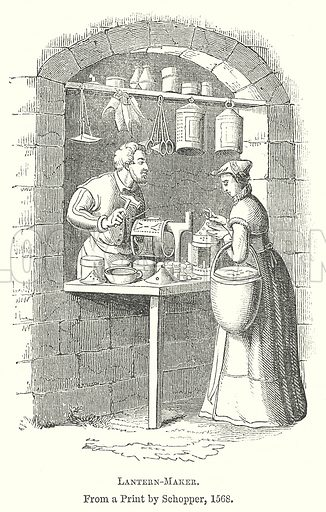 Lantern-Maker. Illustration for The Pictorial History of England (W & R Chambers, 1858).