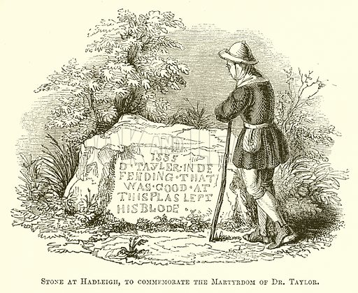 Stone at Hadleigh, to commemorate the Martyrdom of Dr. Taylor. Illustration for The Pictorial History of England (W & R Chambers, 1858).