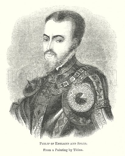 Philip of England and Spain. Illustration for The Pictorial History of England (W & R Chambers, 1858).