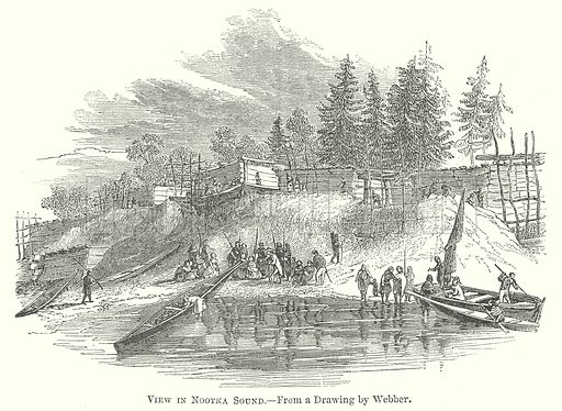 View in Nootka Sound. Illustration for The Pictorial History of England (W & R Chambers, 1858).