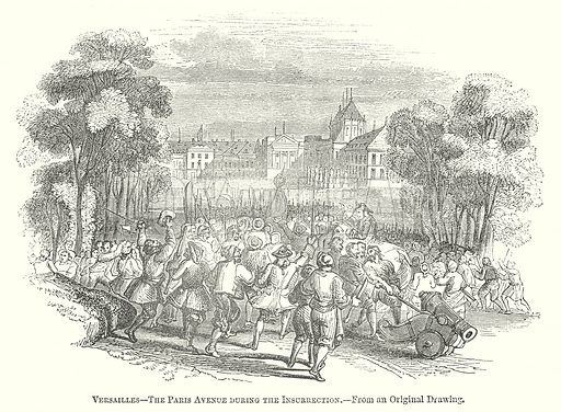 Versailles – The Paris Avenue during the Insurrection. Illustration for The Pictorial History of England (W & R Chambers, 1858).