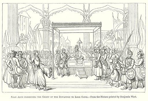 Shah Alum presenting the Grant of the Dewannee to Lord Clive. Illustration for The Pictorial History of England (W & R Chambers, 1858).
