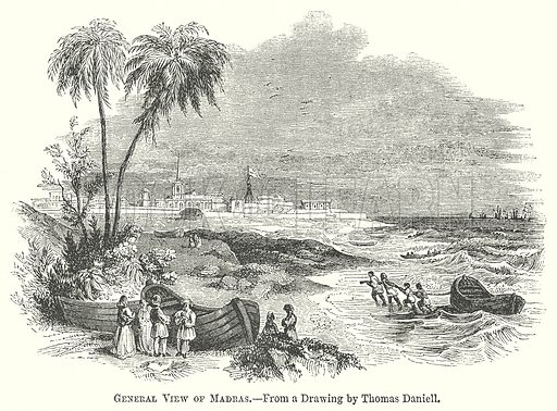 General View of Madras. Illustration for The Pictorial History of England (W & R Chambers, 1858).