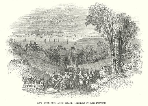 New York from Long Island. Illustration for The Pictorial History of England (W & R Chambers, 1858).