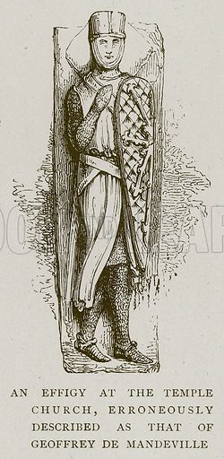 An Effigy at the Temple Church, Erroneously Described as that of Geoffrey de Mandeville. Illustration for Medieval London by Sir Walter Besant (A & C Black, 1906).