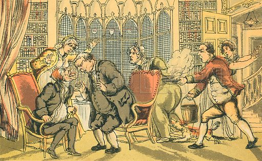 Dr Syntax in Danger. Illustration for Doctor Syntax's Three Tours by William Combe (John Camden Hotten, c 1870).