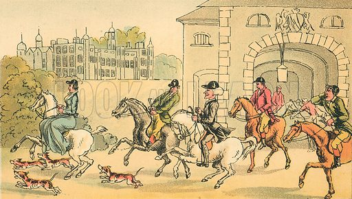 A Noble Hunting Party. Illustration for Doctor Syntax's Three Tours by William Combe (John Camden Hotten, c 1870).