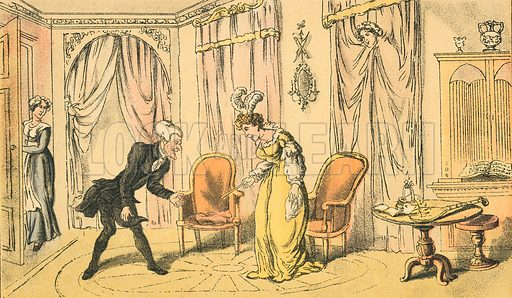 Dr Syntax Received by the Maid Instead of the Mistress. Illustration for Doctor Syntax's Three Tours by William Combe (John Camden Hotten, c 1870).
