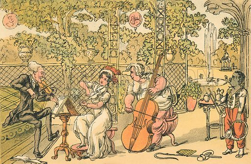 The Garden Trio. Illustration for Doctor Syntax's Three Tours by William Combe (John Camden Hotten, c 1870).