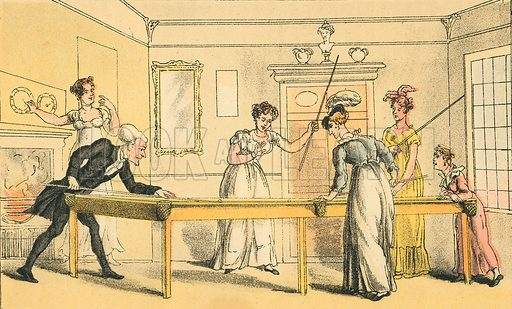 The Billiard Table. Illustration for Doctor Syntax's Three Tours by William Combe (John Camden Hotten, c 1870).