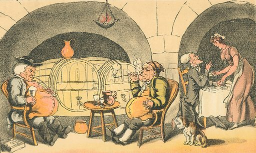 The Cellar Quartetto. Illustration for Doctor Syntax's Three Tours by William Combe (John Camden Hotten, c 1870).