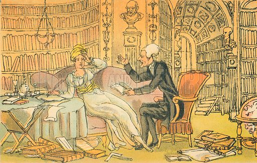 Dr Syntax with a Blue Stocking Beauty. Illustration for Doctor Syntax's Three Tours by William Combe (John Camden Hotten, c 1870).
