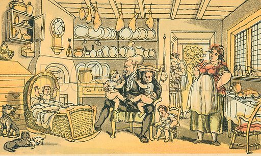 Dr Syntax Turned Nurse. Illustration for Doctor Syntax's Three Tours by William Combe (John Camden Hotten, c 1870).