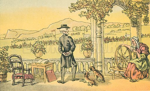 Doctor Syntax Soliloquising. Illustration for Doctor Syntax's Three Tours by William Combe (John Camden Hotten, c 1870).