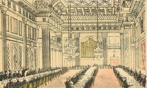 Dr Syntax at Freemason's Hall. Illustration for Doctor Syntax's Three Tours by William Combe (John Camden Hotten, c 1870).