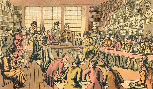 Doctor Syntax at an Auction. Illustration for Doctor Syntax's Three Tours by William Combe (John Camden Hotten, c 1870).
