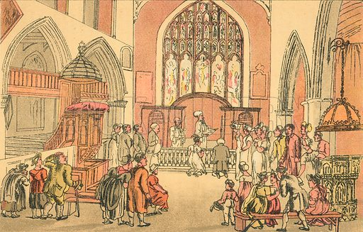 Marriage of Dr Dicky Bend. Illustration for Doctor Syntax's Three Tours by William Combe (John Camden Hotten, c 1870).