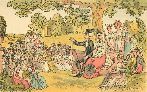 Dr syntax Visits a Boarding School for Young Ladies. Illustration for Doctor Syntax's Three Tours by William Combe (John Camden Hotten, c 1870).