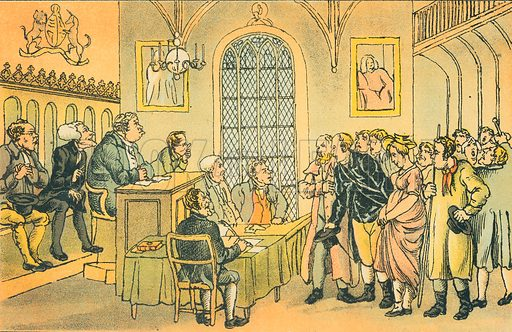 Dr Syntax in a Court of Justice. Illustration for Doctor Syntax's Three Tours by William Combe (John Camden Hotten, c 1870).