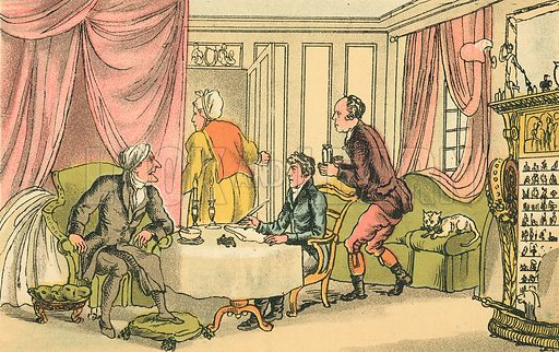 Dr Syntax Making his Will. Illustration for Doctor Syntax's Three Tours by William Combe (John Camden Hotten, c 1870).