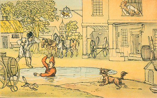 Dr Syntax Amused with Pat in the Pond. Illustration for Doctor Syntax's Three Tours by William Combe (John Camden Hotten, c 1870).