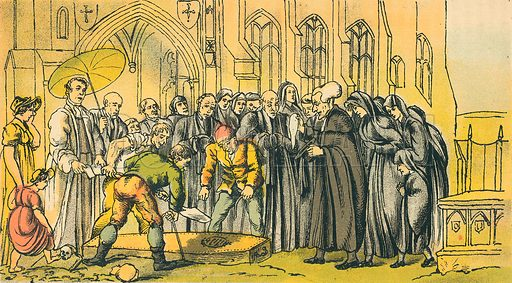 Dr Syntax at the Funeral of his Wife. Illustration for Doctor Syntax's Three Tours by William Combe (John Camden Hotten, c 1870).