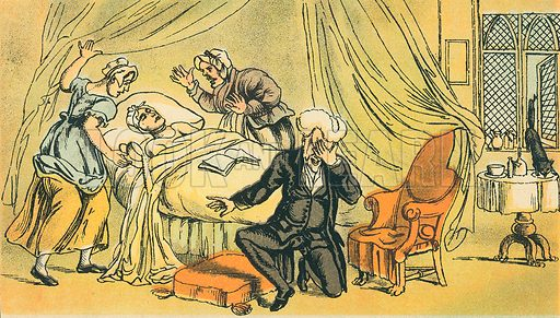 Dr Syntax Lamenting the Loss of his Wife. Illustration for Doctor Syntax's Three Tours by William Combe (John Camden Hotten, c 1870).