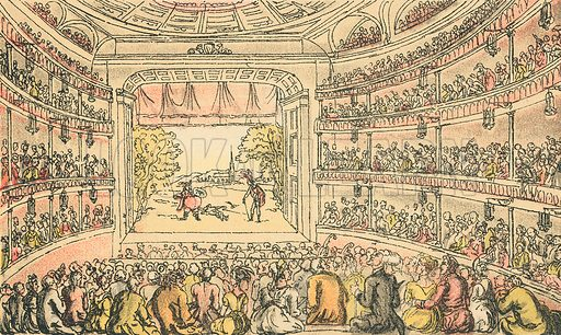 Dr Syntax at Covent Garden Theatre. Illustration for Doctor Syntax's Three Tours by William Combe (John Camden Hotten, c 1870).
