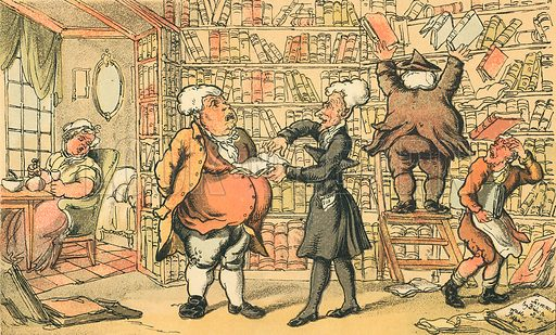 Dr Syntax & Bookseller. Illustration for Doctor Syntax's Three Tours by William Combe (John Camden Hotten, c 1870).