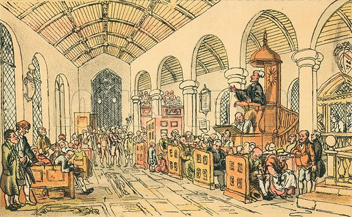Dr Syntax Preaching. Illustration for Doctor Syntax's Three Tours by William Combe (John Camden Hotten, c 1870).