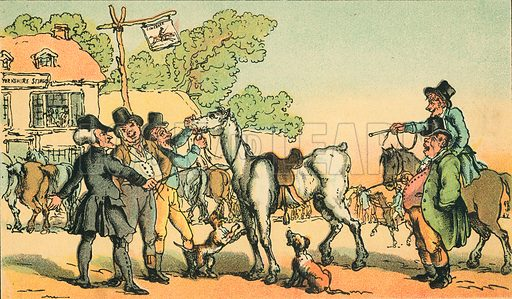 Dr Syntax Sells Grizzle. Illustration for Doctor Syntax's Three Tours by William Combe (John Camden Hotten, c 1870).