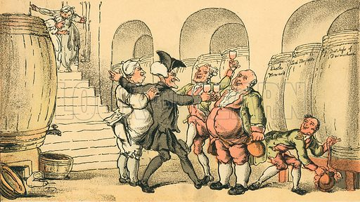 Dr Syntax made Free of the Cellar. Illustration for Doctor Syntax's Three Tours by William Combe (John Camden Hotten, c 1870).