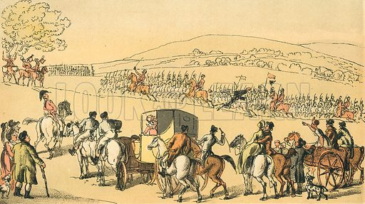 Dr Syntax at a Review. Illustration for Doctor Syntax's Three Tours by William Combe (John Camden Hotten, c 1870).
