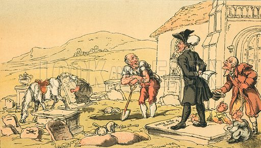 Dr Syntax Meditating on the Tomb-Stones. Illustration for Doctor Syntax's Three Tours by William Combe (John Camden Hotten, c 1870).