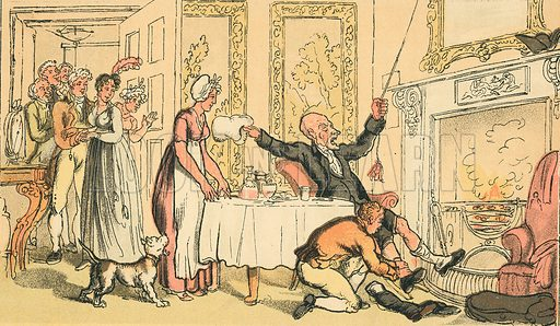 Dr Syntax Mistakes a Gentleman's House for an Inn. Illustration for Doctor Syntax's Three Tours by William Combe (John Camden Hotten, c 1870).