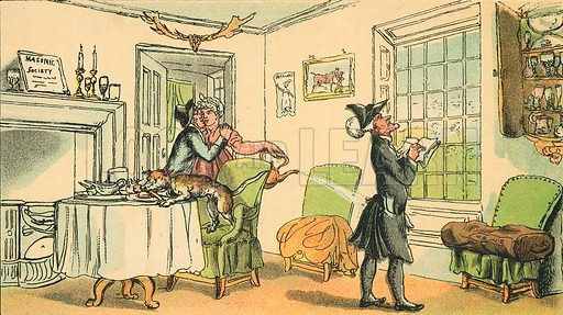Dr syntax Copying the Wit of the Window. Illustration for Doctor Syntax's Three Tours by William Combe (John Camden Hotten, c 1870).