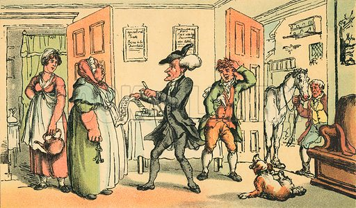 Dr Syntax Disputing his Bill with the Landlady. Illustration for Doctor Syntax's Three Tours by William Combe (John Camden Hotten, c 1870).
