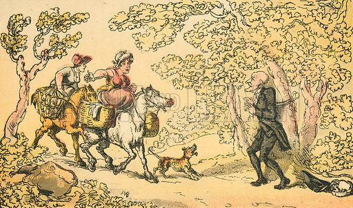 Dr Syntax Bound to a Tree by Highwaymen. Illustration for Doctor Syntax's Three Tours by William Combe (John Camden Hotten, c 1870).