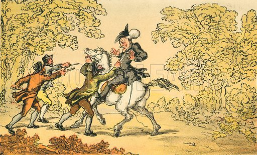 Dr Syntax Stopt by Highwaymen. Illustration for Doctor Syntax's Three Tours by William Combe (John Camden Hotten, c 1870).