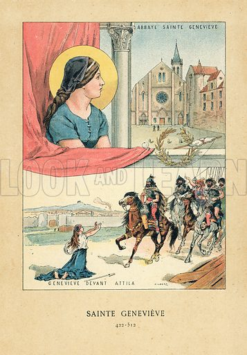 Saint Genevieve.  Illustration for Les Francaises Illustres by Gustave Demoulin (Hachette, 1889).